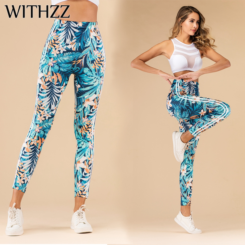 WITHZZ Stretch Tropical Jungle Print Sports Workout Female Fitness Casual Leggings