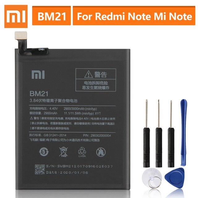 "Original Replacement Battery For XiaoMi Redmi Note Mi Note Note 5.7""  Redrice Note BM21 Genuine Phone Battery 2900mAh"