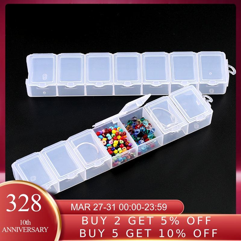 7 Slots Rectangle Jewelry Container Compartment Plastic Storage Box Case Jewelry Box For Beads Earrings Packaging & Display1PCS