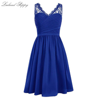 Short A line V neck Chiffon Homecoming Dresses for Juniors Sleeveless Lace Straps Knee Length Pleated Homecoming Party Gowns