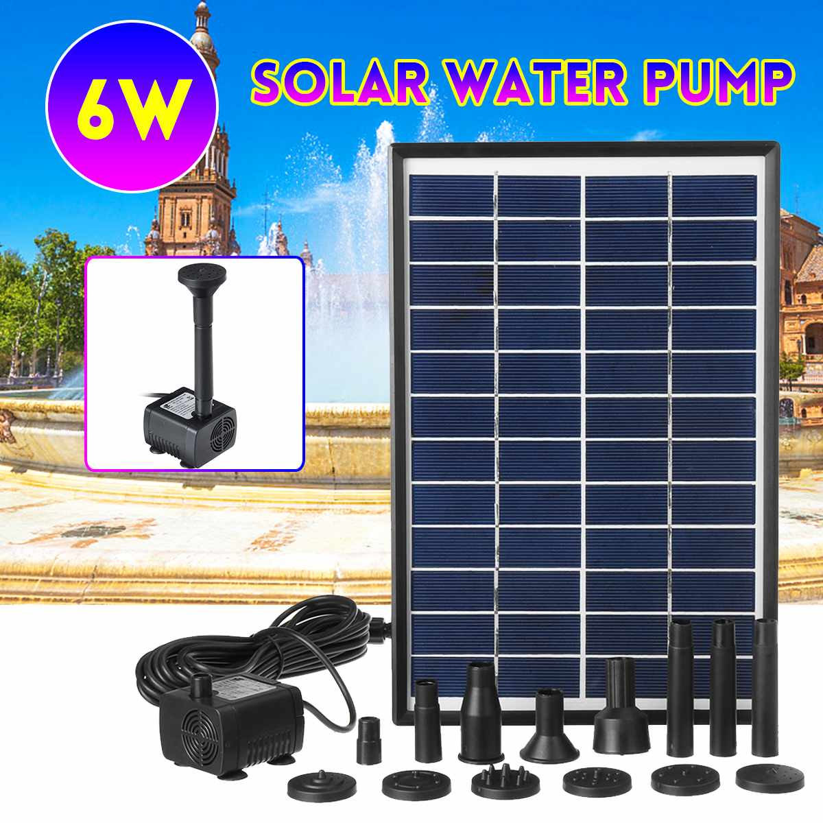 6W Solar Power Panel Water Pump 500L/H Garden Landscape Floating Fountain Artificial Outdoor Fountain Home Decoration Pump Set