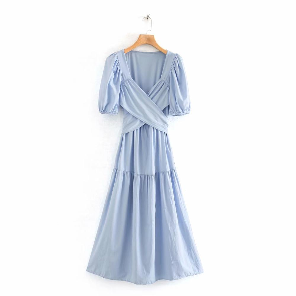 Women Elegant Cross V Neck Patchwork Pleats Midi Dress Female Puff Sleeve Bow Sashes Vestidos Chic Countrystyle Dresses DS3479