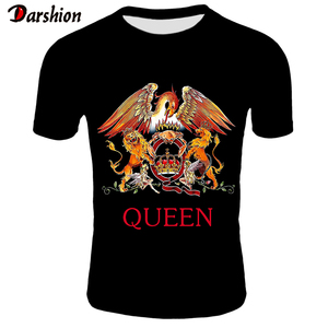 2019 New Fashion TShirt Men Short Fashion Printing T-shirt Queen Rock Band T Shirts Black T-shirts For Men Streetwear Tshirt 4XL(China)