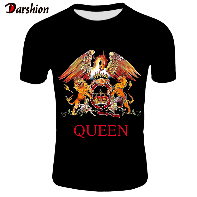 2019 New QUEEN T Shirt Men Short Fashion Printing T-shirt Queen Rock Band T Shirts Black T-shirts For Men Streetwear Tshirt 4XL