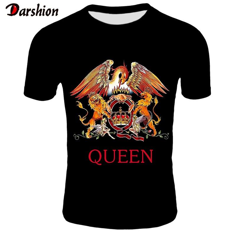 2019 New QUEEN   T     Shirt   Men Short Fashion Printing   T  -  shirt   Queen Rock Band   T     Shirts   Black   T  -  shirts   For Men Streetwear Tshirt 4XL