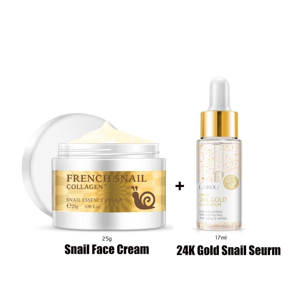 Creme de rosto caracol e 24k ouro caracol seurm essência ácido hialurónico hidratante anti-envelhecimento nutritivo soro creme de cuidados com a pele