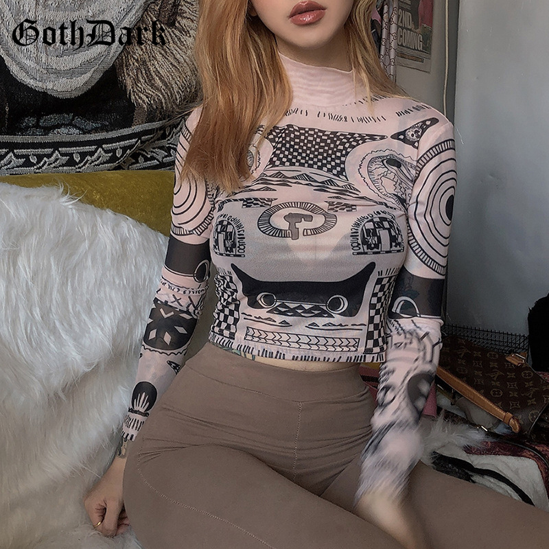Goth Dark Print Long Sleeve Gothic T-shirts For Women Harajuku Vintage Aesthetic Crop Top Fall T shirt 2019  Fashion
