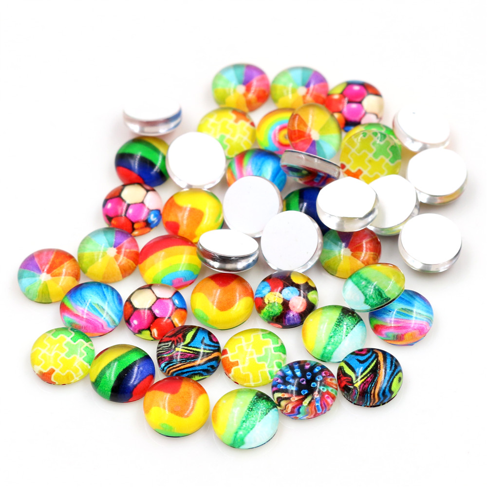 Hot Sale 50pcs 10mm Colors Mixed Handmade Glass Cabochons Pattern Domed Jewelry Accessories Supplies-I5-44