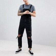 Feitong черные комбинезоны мужские дырки карман джинсы комбинезон уличная подтяжки длинные брюки Pantalones