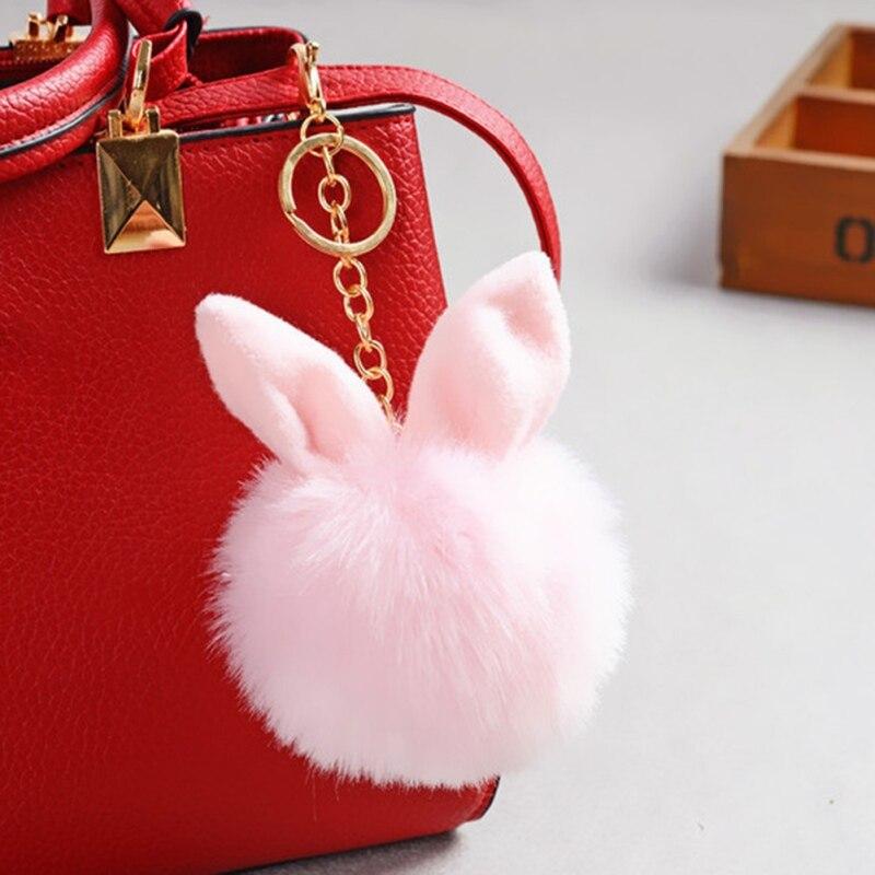 O 18 Color Rabbit Ear Faux Keychain Charm Cute Fur Ball Ornament Casual Keychain Pendant Decoration Bag Black