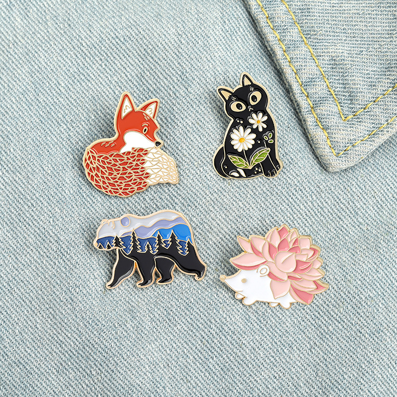 Cartoon Fox Hedgehog Cat Bear Brooches Clothes Badge New Cute Animal Pins For Women