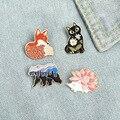 Cartoon Fox Hedgehog Cat Bear Brooches Clothes Badge New Cute Animal Pins For Women