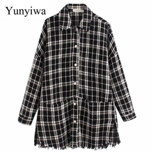 2020 New Women Plaid Oversized Tweed Jacket Tassels Pockets Loose Style Long Sle