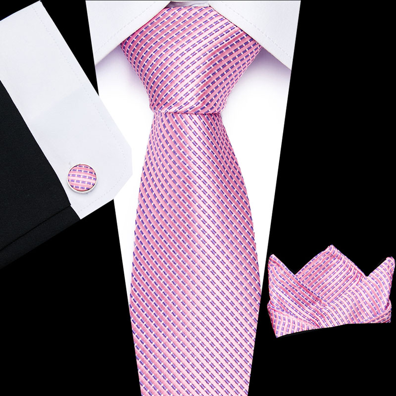2019 New Luxury  Pink Solid  Men Ties Set 8cm Necktie  Paisley 100% Silk Jacquard Woven Neck Tie Suit Wedding With White Box