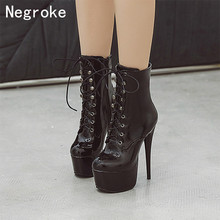 Women Boots 2019 Fashion Spike High Heels Platform Ankle Boots Lace Up Autumn Winter Shoes Woman Plus Size Botas Zapatos Mujer цена