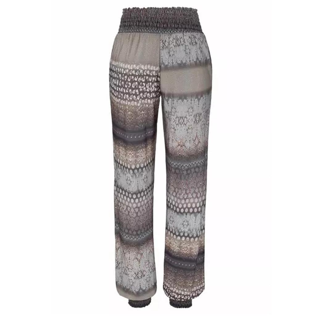 Apparel - Women Striped Boho Casual Flower High Waist Trousers