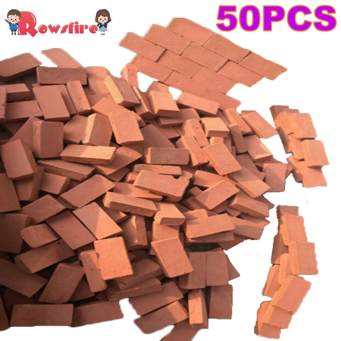 166Pcs 1:16 Scale Mini Red Bricks Model Antique Micro Landscape Decorative Bricks For DIY Sand Table Building - Orange Red