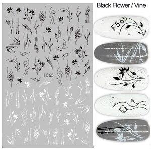 Image 4 - 1pc 3D נייל מדבקות שחור לבן פרח דבק רדיד מדבקות מכתב פרפר עיצובים מחוון נייל אמנות קישוט טיפים LAF555 573