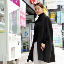 Winter 2019 New Sleeveless Bat Wool Coat Women Cloak Loose Turn-down Collar Single Breasted Long