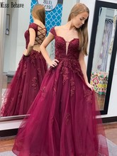 цена на DD JYOY Off Shoulder Evening Dress Long Burgundy Lace Prom Dress Long Formal Evening Gown Sexy Open Back  A Line Dress V Neck