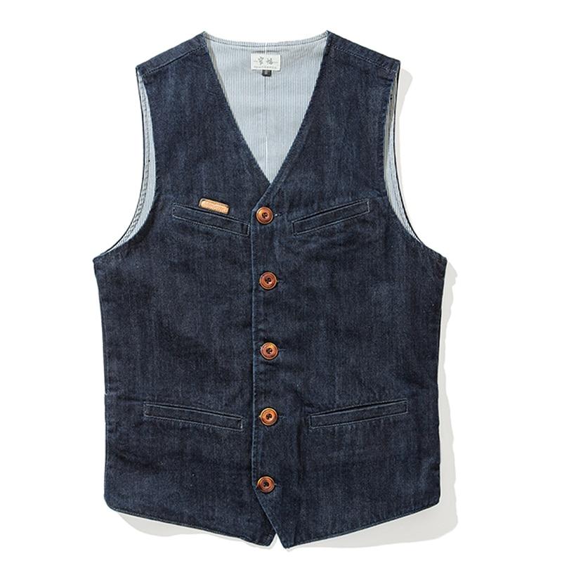 Summer Fall Fashion Men Slim Fitted Sleeveless V Neck Denim Vest Coat , Waistcoat For Man , Male Spring Cardigan Xxl Jeans Vest