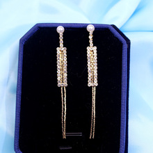 Fashion long claw chain metal earrings  fashion all around Pearl Tassel Earrings womens wholesale