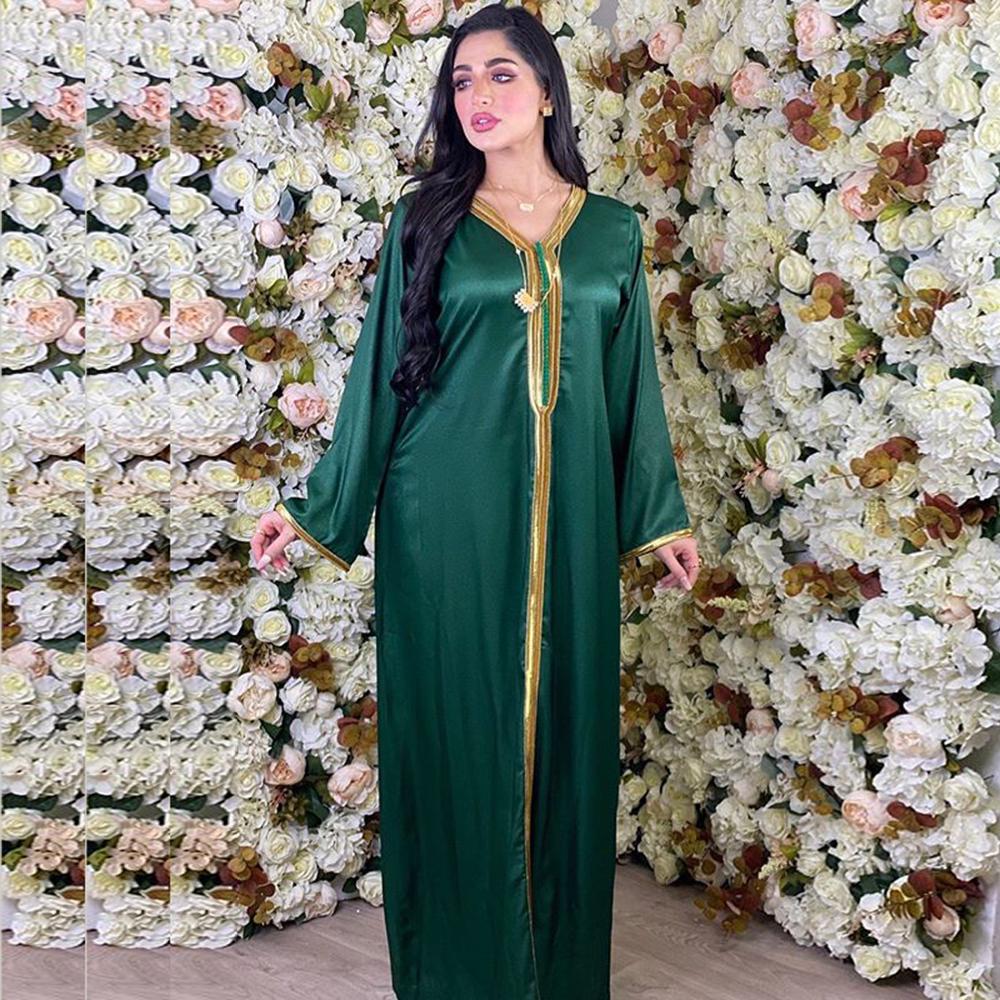 Siskakia Arabic Dresses for Women Fall 2020 Golden Ribbon Patchwork V Neck Long Sleeve Maxi Dress Muslim Turkish Clothing Satin