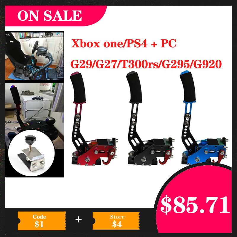 PS4 + PC USB 핸드 브레이크 + 레이싱 게임용 클램프 G295/G27/G29/G920 T300RS Logitech 브레이크 시스템 핸드 브레이크 자동 교체 부품