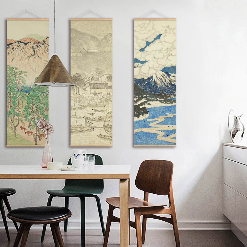 >Japanese Landscape Canvas Print Poster Scroll Paintings Ou-mi Scenery Wall Art Pictures Living Room <font><b>Farmhouse</b></font> Home Decoration