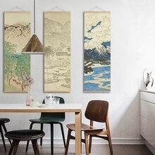 Японский печатный плакат Ou mi на холсте, настенный плакат с пейзажем, картины для гостиной, фермерского дома, Декор