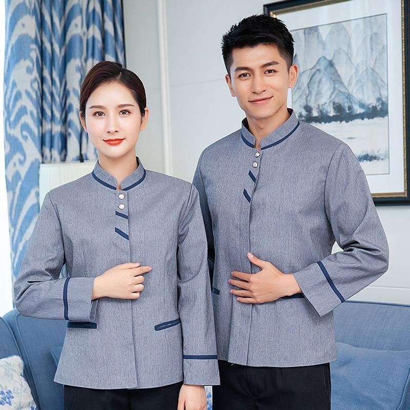 Hotel Restaurant Waiter Waitress Uniform Autumn Winter Long Sleeve Workwear Teahouse Overalls Catering Staff Wear Work Jacket