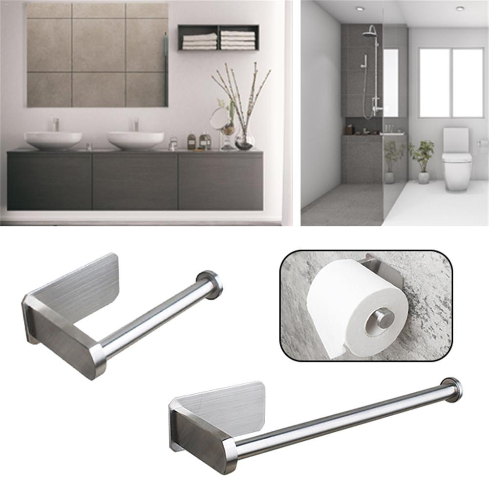 Stainless Bathroom Towel Rack Drawbench Toilet Paper Holder 3M Self-adhesive Support Stand Kitchen Tools