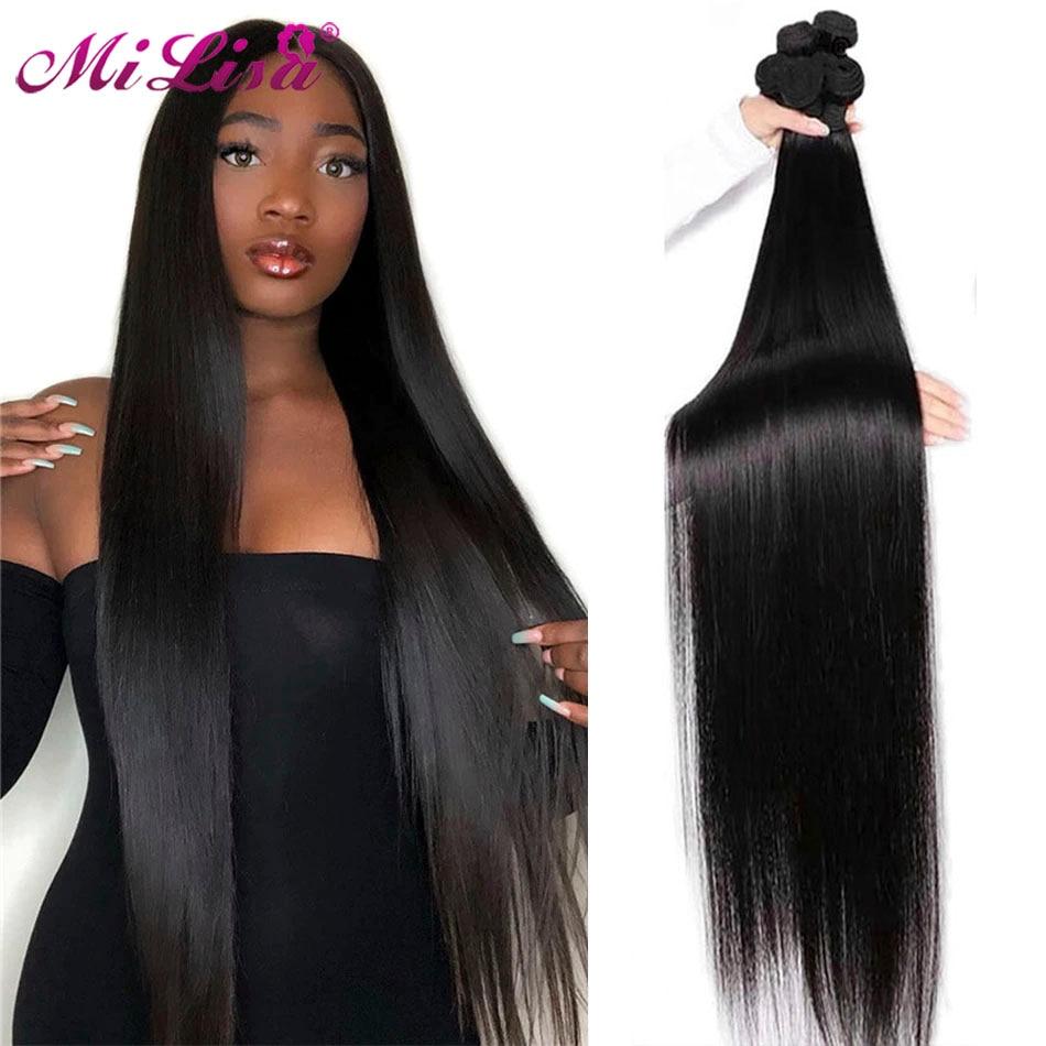 30 polegada feixes de cabelo reto osso em linha reta feixes de cabelo humano mi lisa remy feixes cabelo brasileiro tecer extensões do cabelo humano