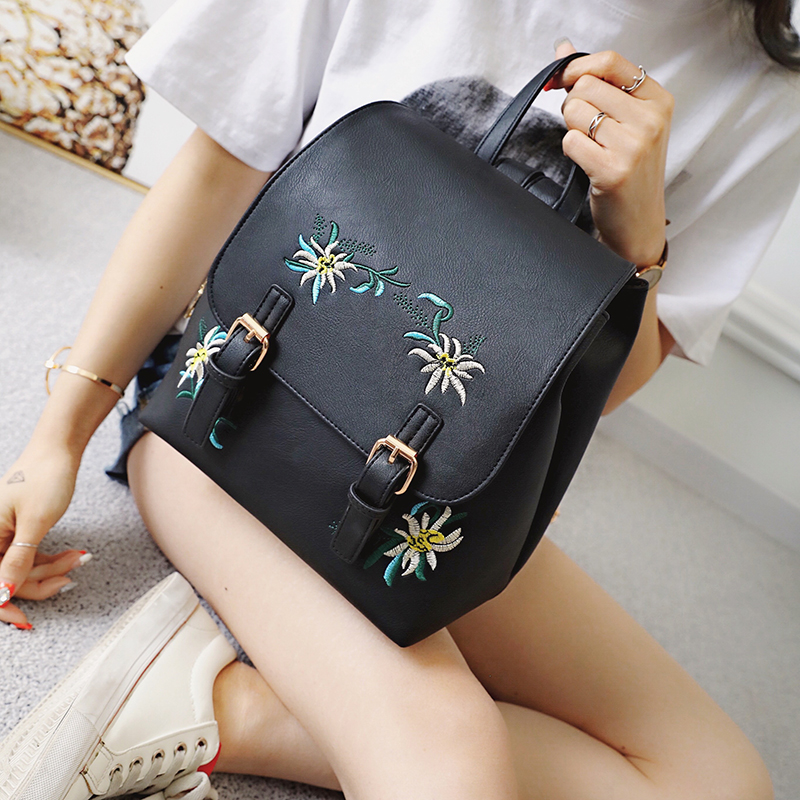 Multi-Function Small Bagpack Female Ladies School Backpack Backpack Women PU Leather Shoulder For Teenage Kids Embroidery Bag