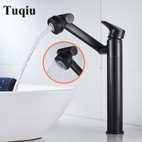 Bathroom Basin Faucet With Shower Head Gold Sink Mixer Tap Black Oil Brushed Hot & Cold Rotating Spray Nozzle Unique Design