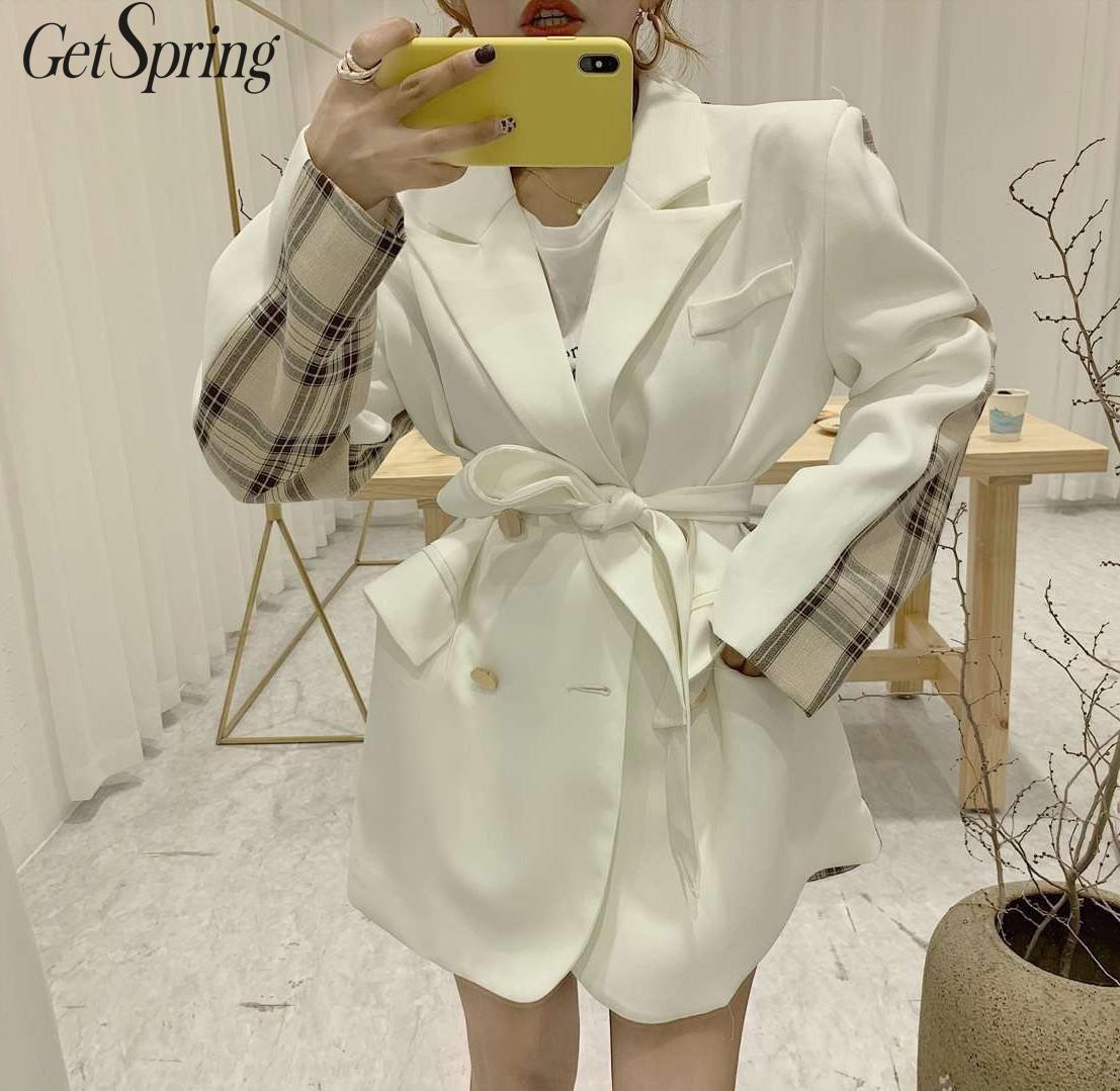 GETSPRING Women Coat Women Suit Coats Patchwork Plaid Color Matching Long Suit Irregular Bandage Vintage All Match Tops 2019 New