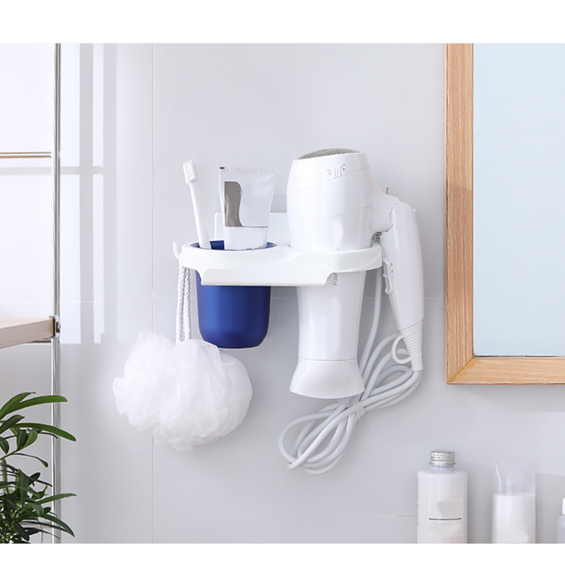 Multifunction Bathroom Wall Mounted Suction Hair Dryer Comb Rack Holder Cup Shelf Stand PP Storage Organizer Strong Sucker Storage Shelves & Racks     - title=