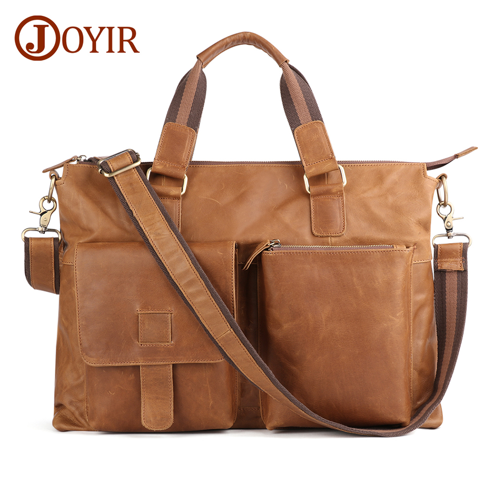 JOYIR Genuine Leather Men Large Briefcases Vintage Men Messenger Bag Male Business Computer Laptop Bags Crossbody Bags Handbag