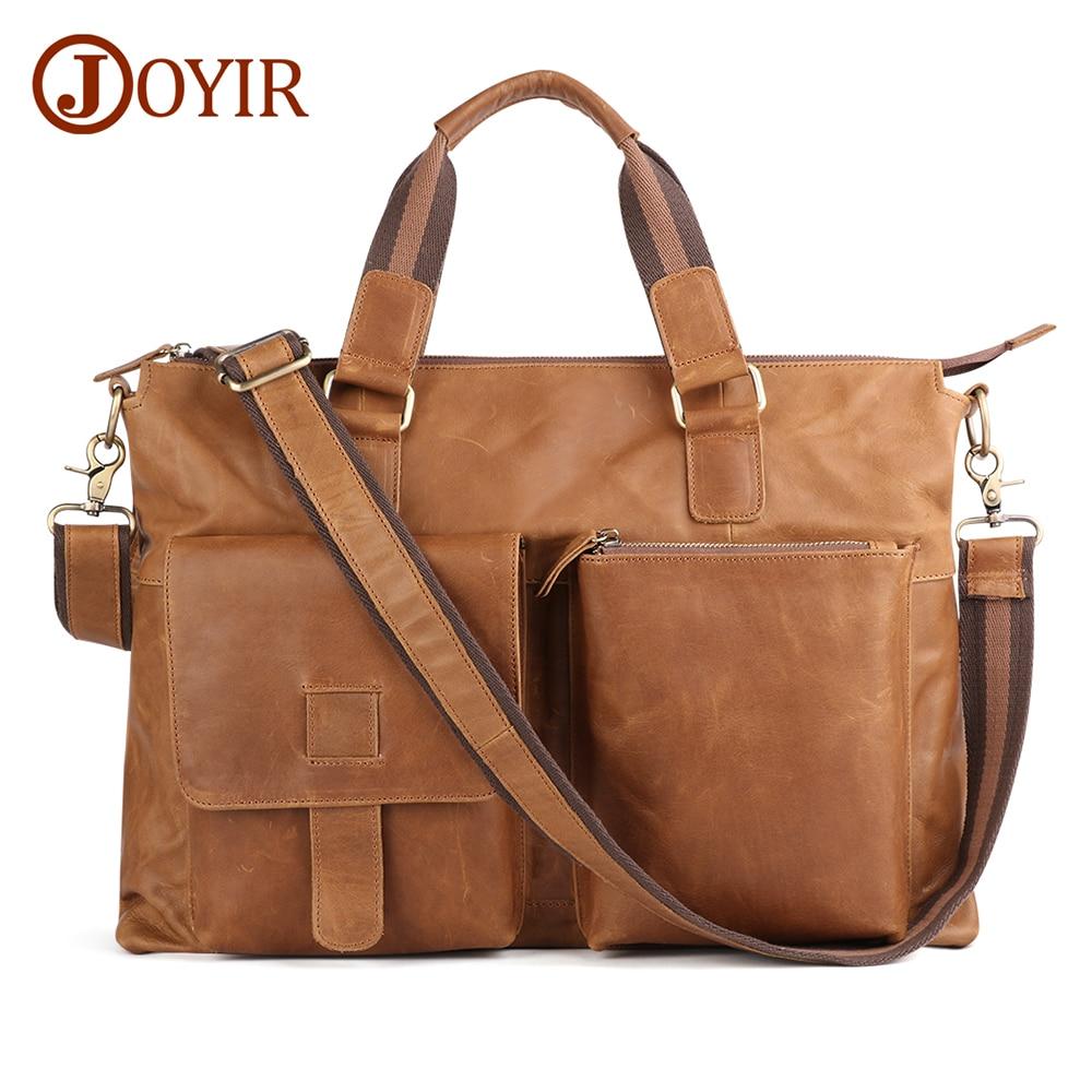 JOYIR Genuine Leather Men Large Briefcases Vintage Men Messenger Bag Male Business Computer Laptop Bags Crossbody Bags Handbag