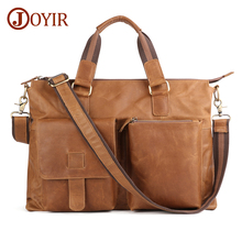 JOYIR Genuine Leather Men Large Briefcases Vintage Men Messenger Bag Male Business Computer