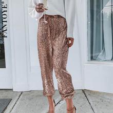 FANTOYE złote cekiny błyszczące szerokie wiązki spodnie nogi kobiety dorywczo świąteczne spodnie Harem spodnie wysokiej gorset Streetwear tanie tanio Poliester spandex Kostki długości spodnie CN (pochodzenie) Zima Patchwork High Street Mieszkanie Luźne Łączone Suknem