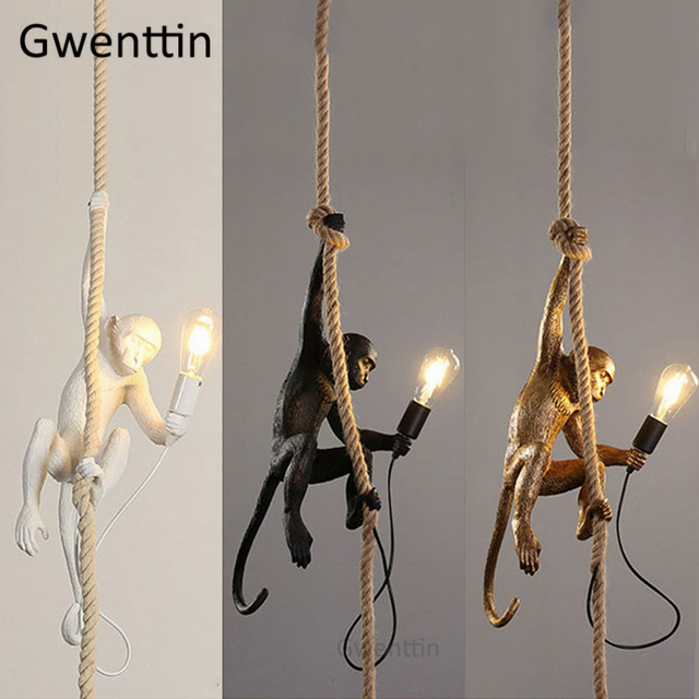 Black/White/Gold Monkey Lamp Replicas Seletti Vintage Pendant Lights Hemp Rope Hanging Lamps Dining Room Loft Industrial Decor