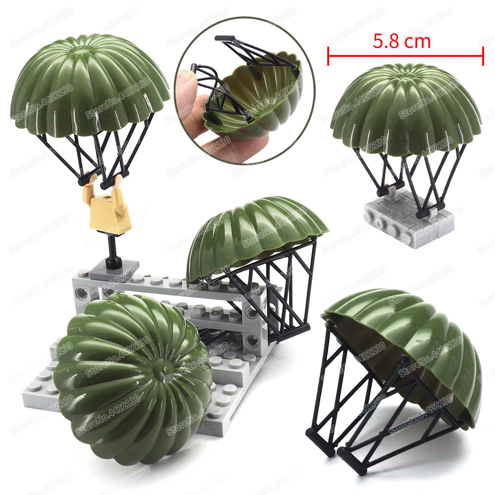 Military Classic WW2 Soldier Parachute Building Block Moc Green Figures Decoration Model Child Christmas Gifts Boys Creator Toys