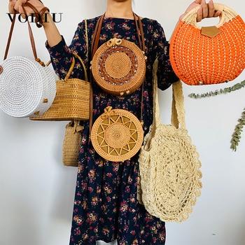 Straw Beach Bag Women Shoulder Crossbody Bags For Girls Fashion Design Casual Handmade Woven Summer Rattan Travel Ladies Handbag casual straw and solid color design shoulder bag for women