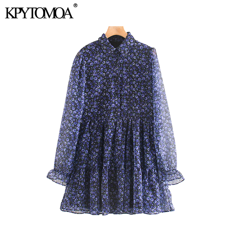 Vintage Elegant Floral Print Pleated Mini Dress Women 2020 Fashion Lapel Collar See Through Sleeve Female Dresses Vestidos Mujer