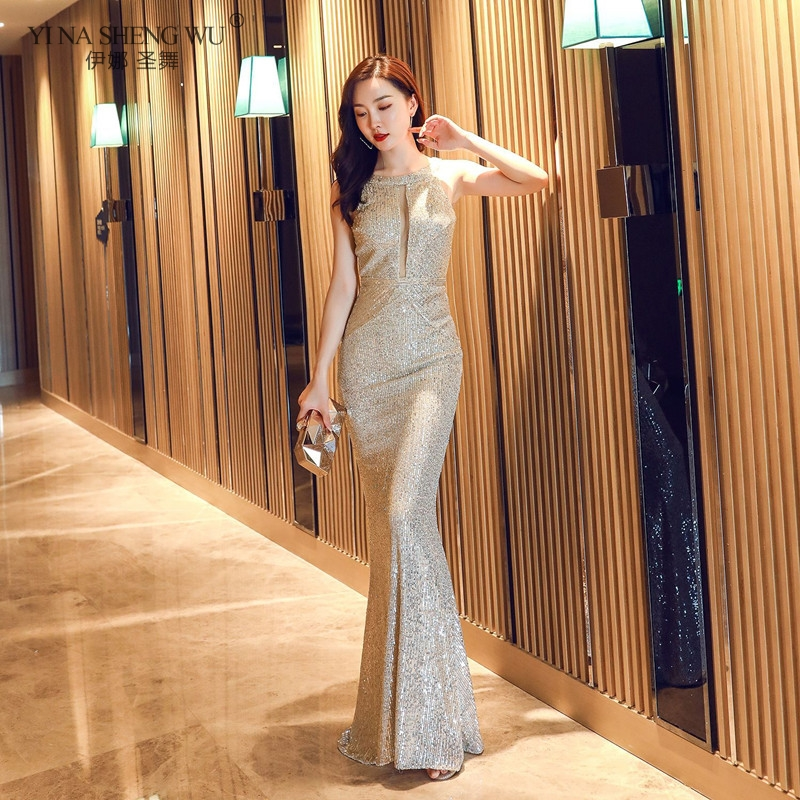 New Women Halter Neck Sleeveless Elegant Long Sequins Prom Gown Sexy Hollow Out Mermaid Tail Sequins Evening Party Dress image