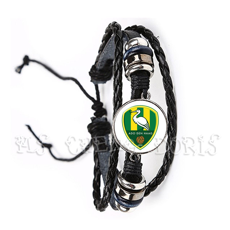 Dutch Eredivisie Adjustable Football Sport Teams Ajax Feyenoord Paracord Survival Bracelet Black Leather Bangle For Men Women