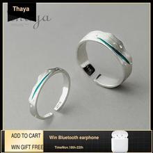 Thaya זמן נסיעות גל כחול אצבע טבעת Stackable S925 סטרלינג כסף ציור קו פתוח טבעות נשים תכשיטים בעבודת יד מאהב מתנה