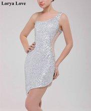 Коктейльные мини платья 2020 с серебряными блестками сексуальные