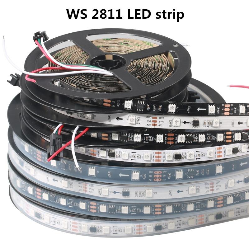 Светодиодные ленты светильник WS2811 RGB адресуемый 30/48/60 светодиодный Пиксели внешний 1 Ic Управление 3 светодиодный s нормальный/яркий 50/100 м DC12V DHL доставки